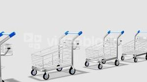 Trolleys in motion. Concept of consumer society