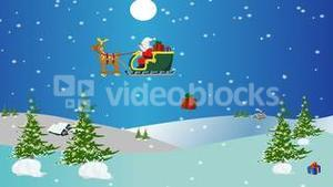 Christmas animation of Santa flying in a sleigh over the snow