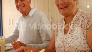 Happy senior couple having meal with their friends