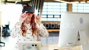Businesswoman using virtual 3d glasses