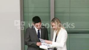 Business people discussing reports in a building