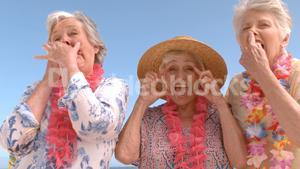 senior friends making funny face on the beach
