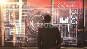 businessman in office with futuristic city background and projection
