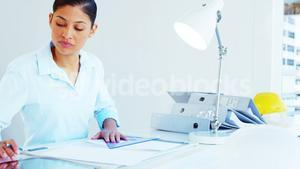 woman drawing design and using tablet computer