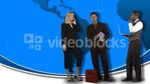 Animation of standing business people with the world in the background