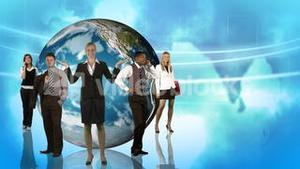 Animation of business people posing in front of the Planet