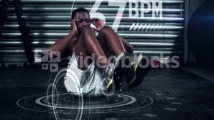 Athlete performing crunches against the animated background