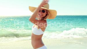 Beautiful woman having fun on beach