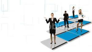 Animation of isolated business people standing on different colorful squares