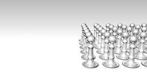 Animation of a white chess set with a blue piece in the center