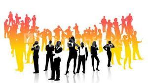 Business people silhouettes doing different works