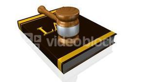 Animation of a book of law and a hammer. Concept of justice