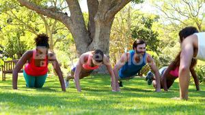 Group of friends doing push ups