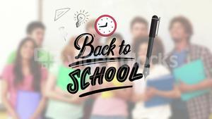 Back to school message surrounded by icons with teacher and childrens