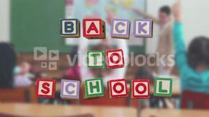 Back to school message surrounded by icons with teacher teaching childrens