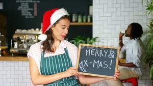 Portrait of waitress standing with merry x mas board