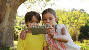 Kids taking selfie from mobile phone