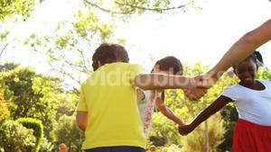 Kids playing ring-around-the-rosy