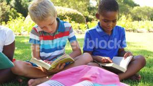 Group of kids reading books in park