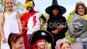 Group of kids in various costumes