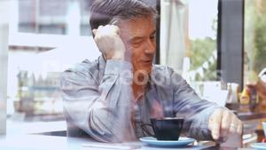 Businessman discussing in office cafeteria
