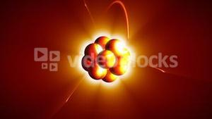 Animation of atom with neutrons and protons. Science symbol