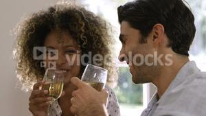 Happy couple having wine