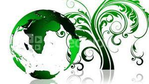 Animation of a green Earth planet. Green and ecological world concept