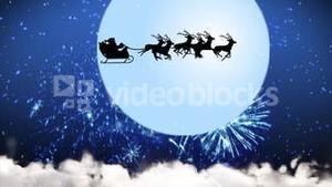 Animation of Santa Claus and reindeer flying over the moon