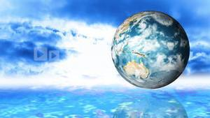 Animation of a globe spinning against sky background