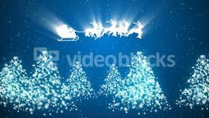 Animation of Santa Claus and reindeer flying over the trees and snow