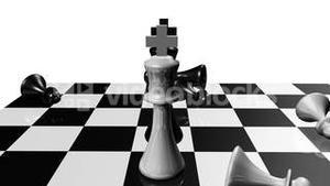 Animation of chess set. Stand off. Concept of rivalry