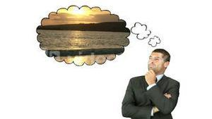 Businessman thinking about travelling