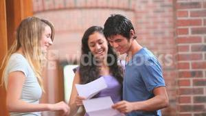 Happy students receiving a good news