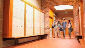 Students walking in a corridor