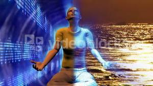 Digital human in Buddha position. Concept of stress and relax in business