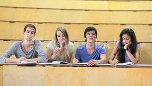 Serious students attending a lecture