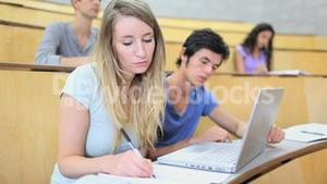 Young student taking notes with a laptop