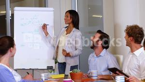 Business executive giving presentation