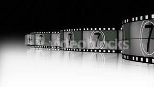 Animation of a film reel announcing a movie
