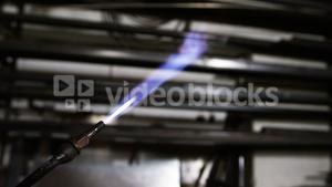 Close-up of flame on welding torch