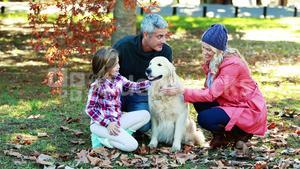 Family sitting in the park with their dog