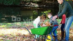 Family picking up autumn leaves and putting in a wheelbarrow