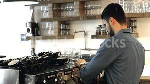 Waiter working in cafeteria