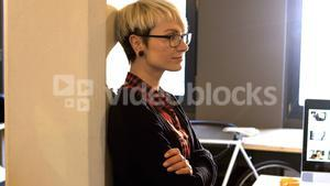 Portrait of female business executive smiling