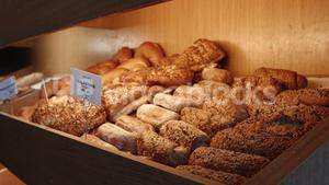 Variation of bread in wooden crate