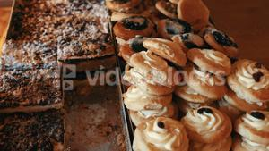 Variation of sweet food in bakery shop