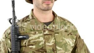 Soldier doing march past on white background