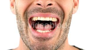 Man screaming on white background