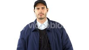 Security guard standing on white background